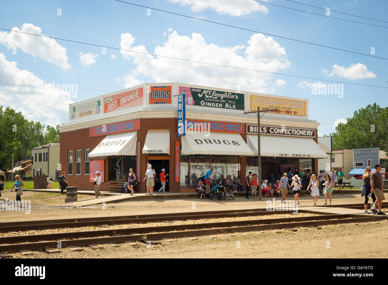 The Sun Drugstore and Bill's Confectionery on 1920 Street at Fort Edmonton Park in Edmonton, Alberta, Canada. - Stock Image