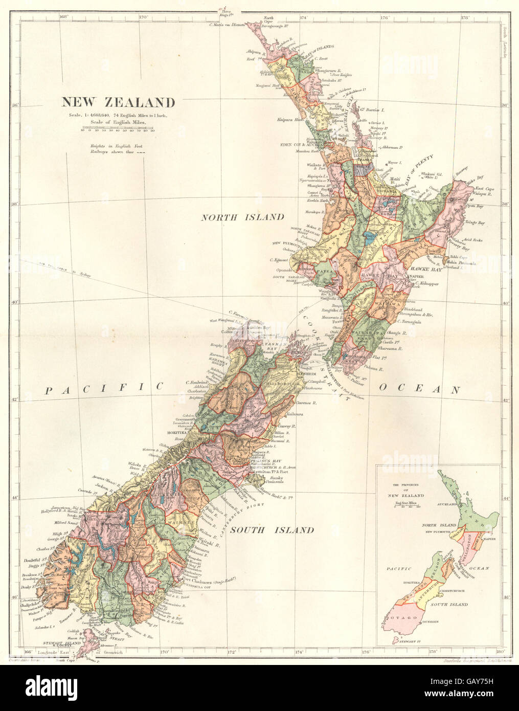 New Zealand Provinces Map.New Zealand Inset Provinces Of New Zealand Stanford 1892 Antique
