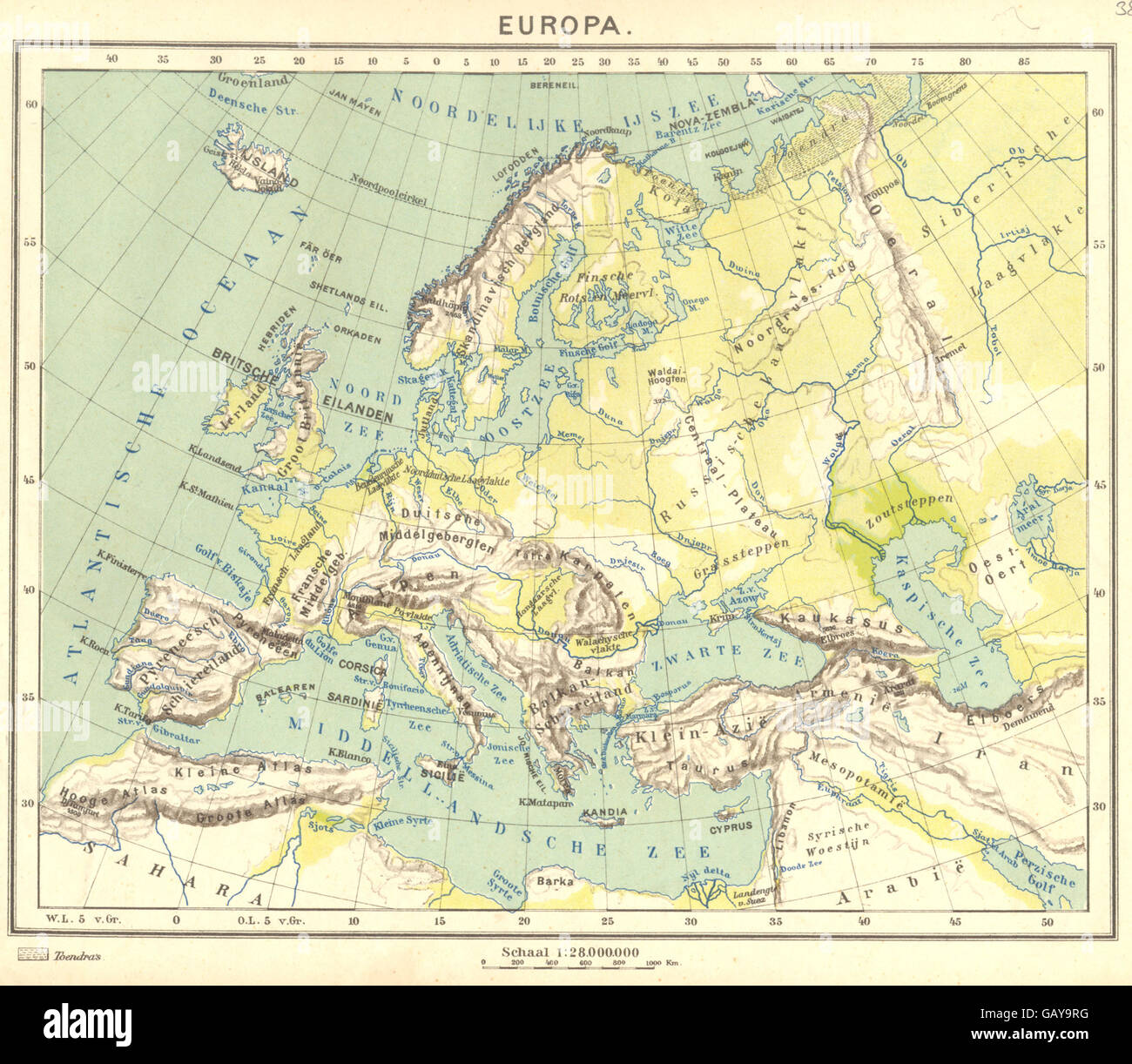 Map Of Europe 1922.Europe Europa 1 1922 Vintage Map Stock Photo 110009188 Alamy