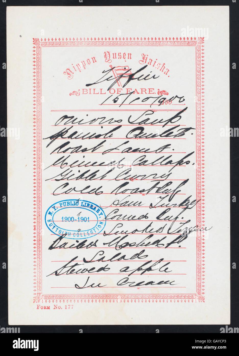 TIFFIN (held by) NIPPON YUSEN KAISHA (at) EN ROUTE (SS;) ( Hades-274904-476003) Stock Photo