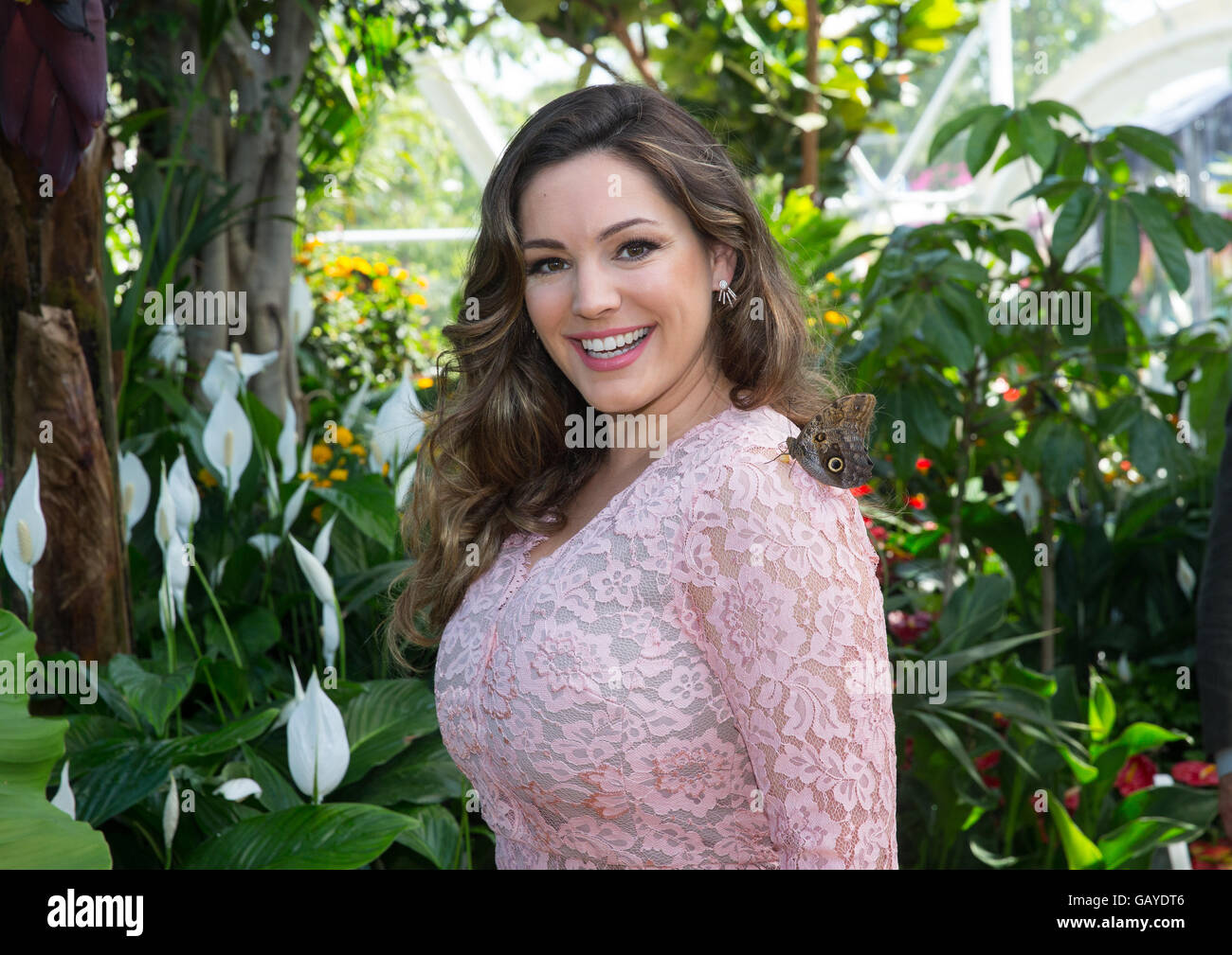 Actress,TV presenter and model in the butterfly Dome at RHS Hampton Court. - Stock Image