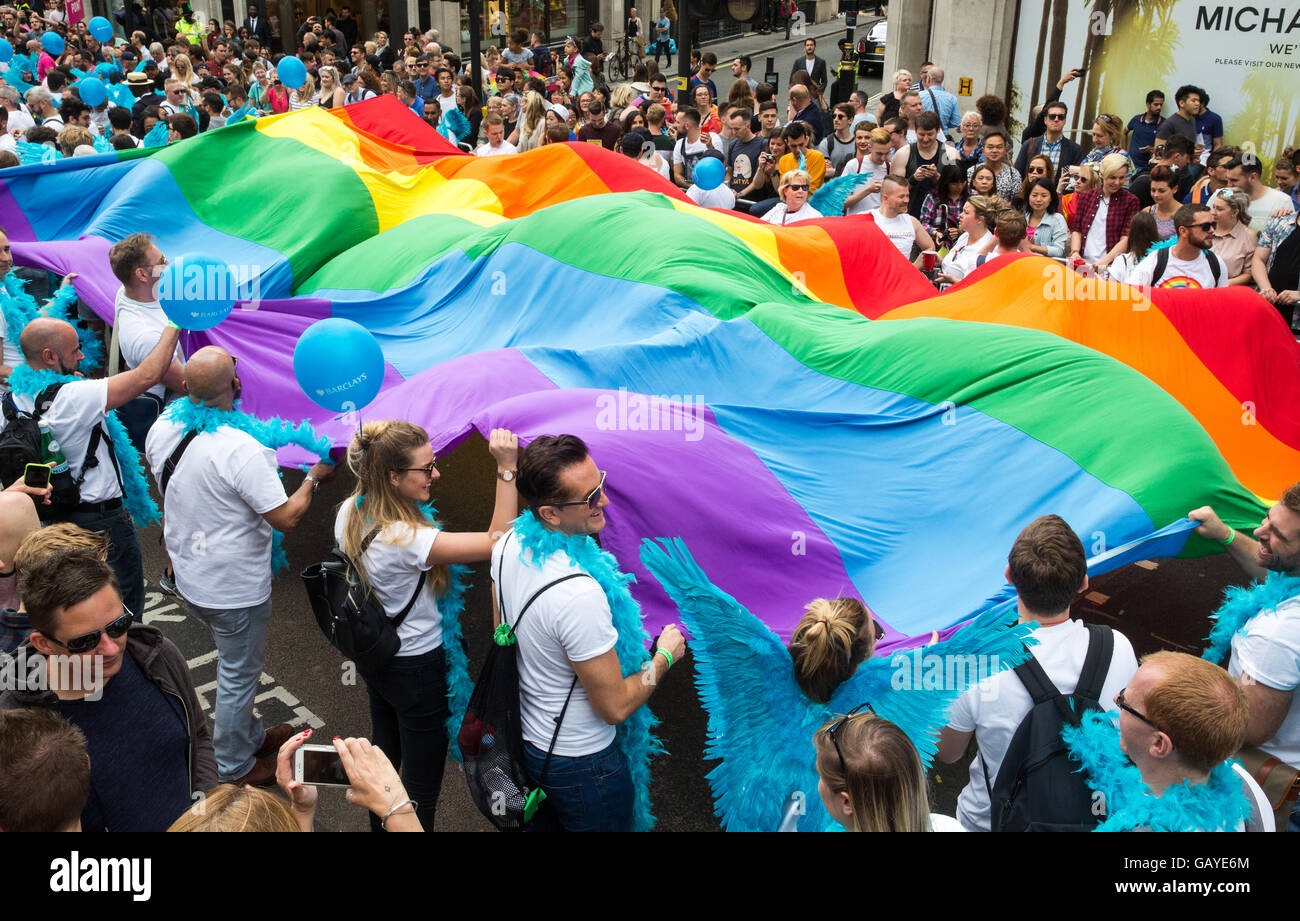 Colourful costumes at the Pride parade in London 2016 - Stock Image