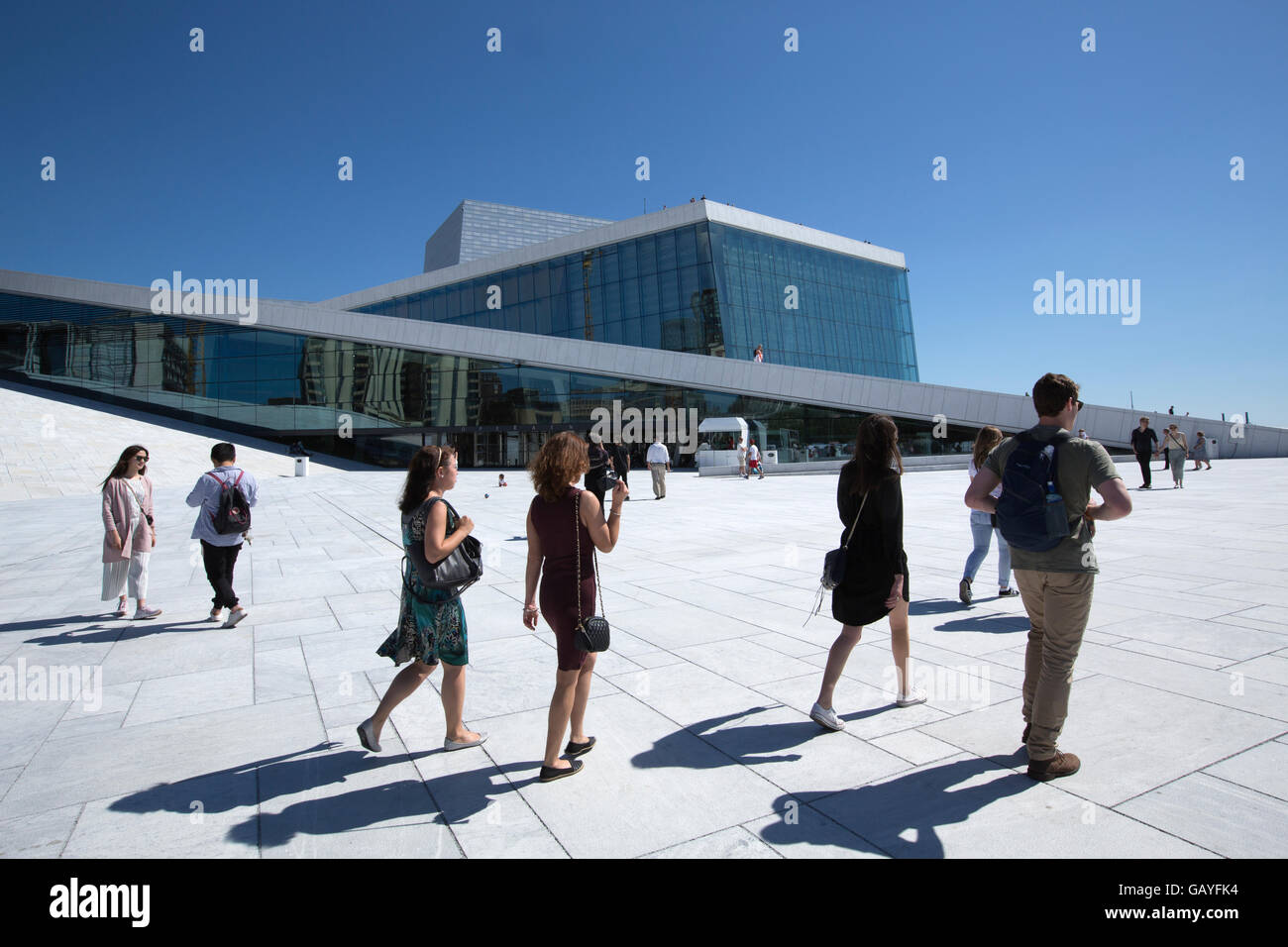Oslo Opera House, home of The Norwegian National Opera and Ballet, and the national opera theatre in Norway, Bjørvika - Stock Image