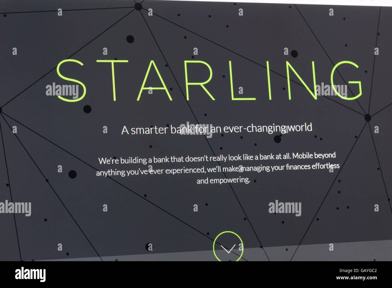 Screenshot of the Starling homepage - Stock Image