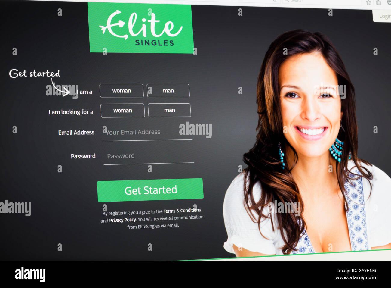 Screenshot of the elitesingles homepage - Stock Image