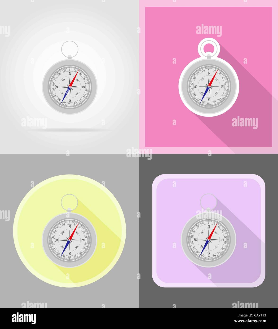 compass flat icons vector illustration isolated on background - Stock Vector