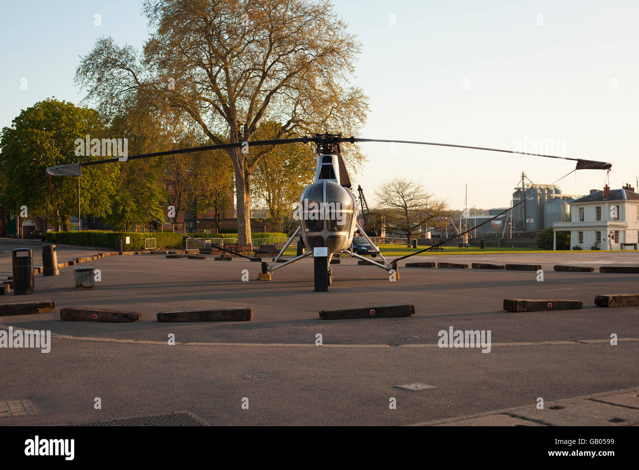Helicopter at Chatham Historic Dockyard - Stock Image