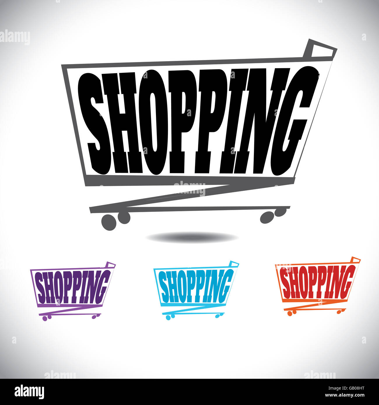 Creative Shopping trolley or cart - pictogram - Stock Image