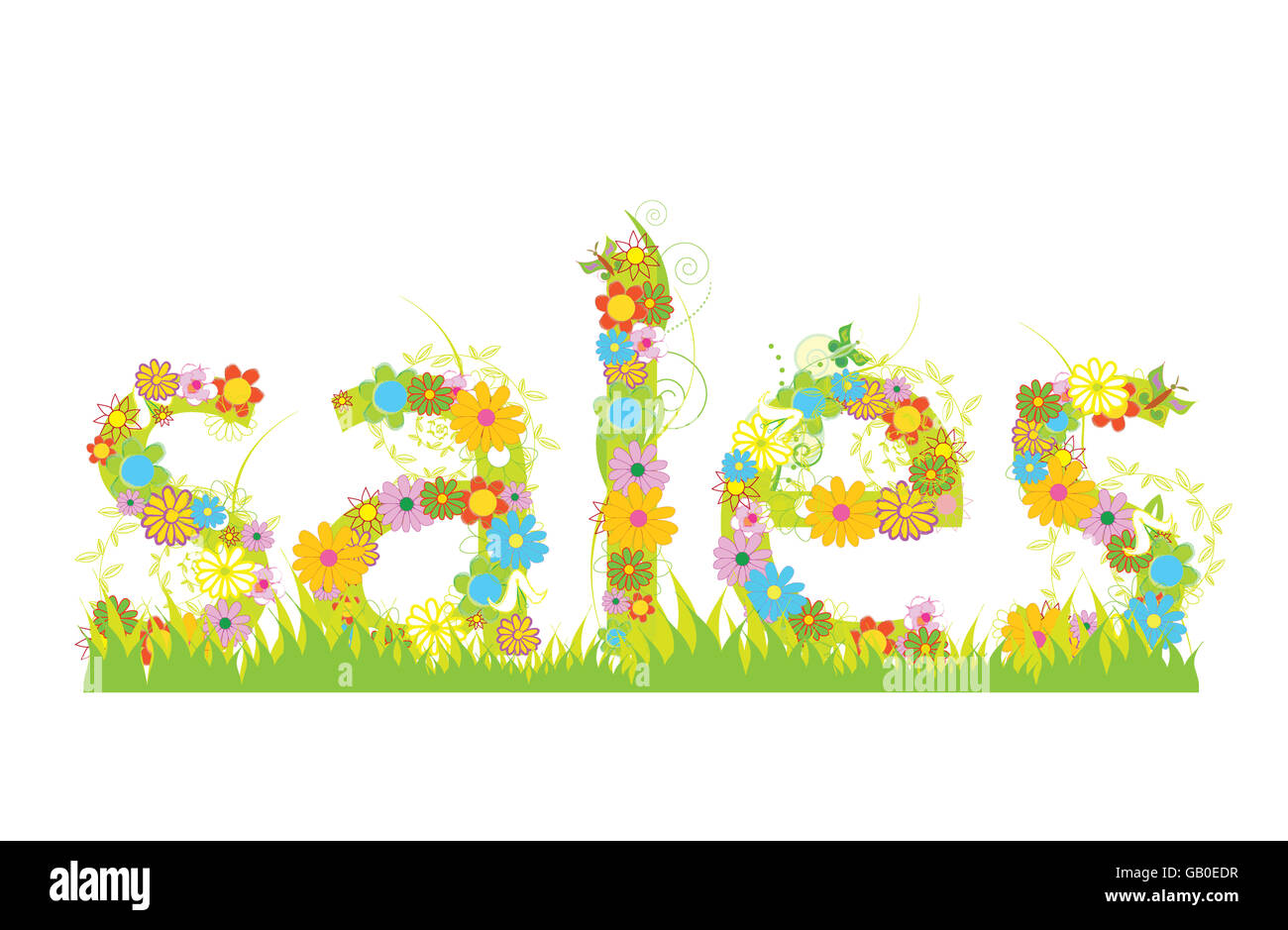 Sales letters for summer/spring sales with flowers , butterflies and grass - Stock Image