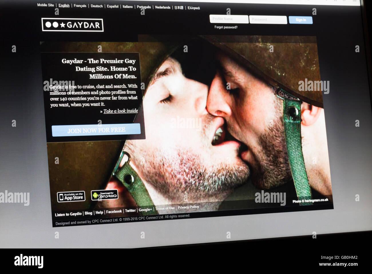 Screenshot of the Gaydar homepage - Stock Image