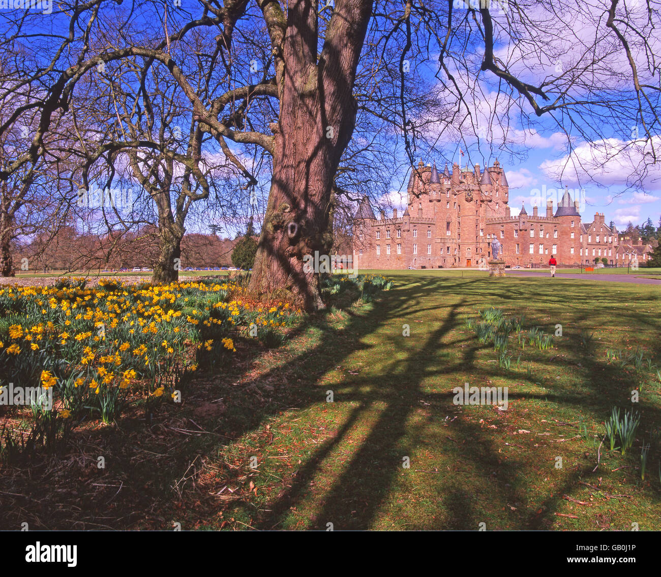 Glamis castle in the spring, Angus, N/E Scotland. - Stock Image