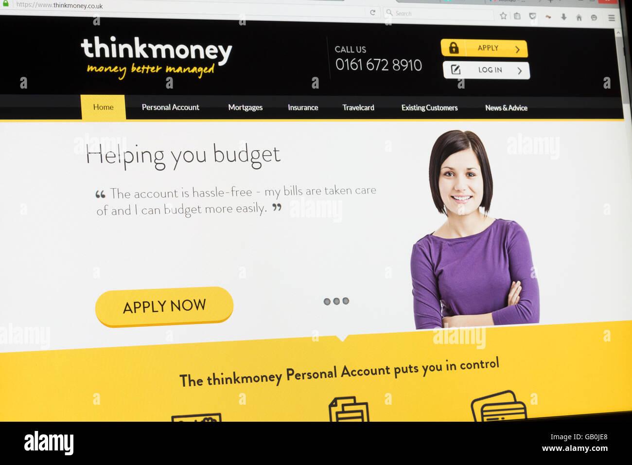 Screenshot of the Thinkmoney homepage - Stock Image