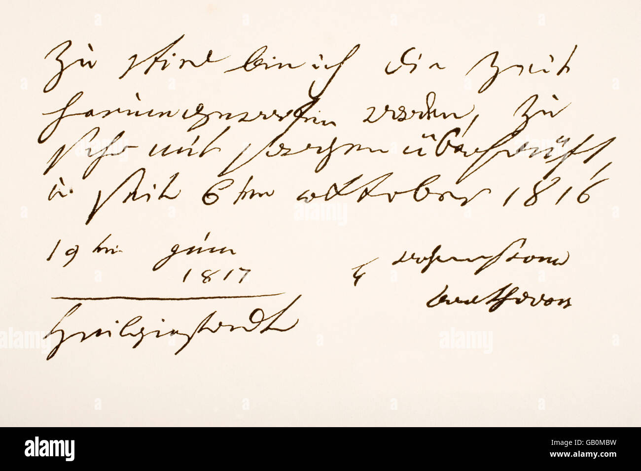 Ludwig van Beethoven,  1770 - 1827.  German composer. Hand writing sample and signature. - Stock Image