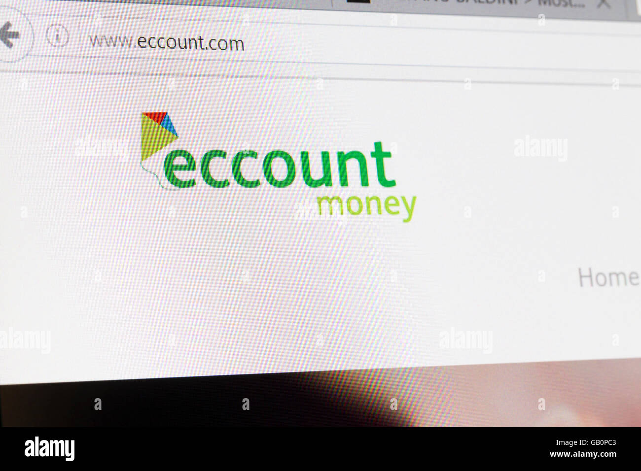 Screenshot of the Eccount homepage - Stock Image
