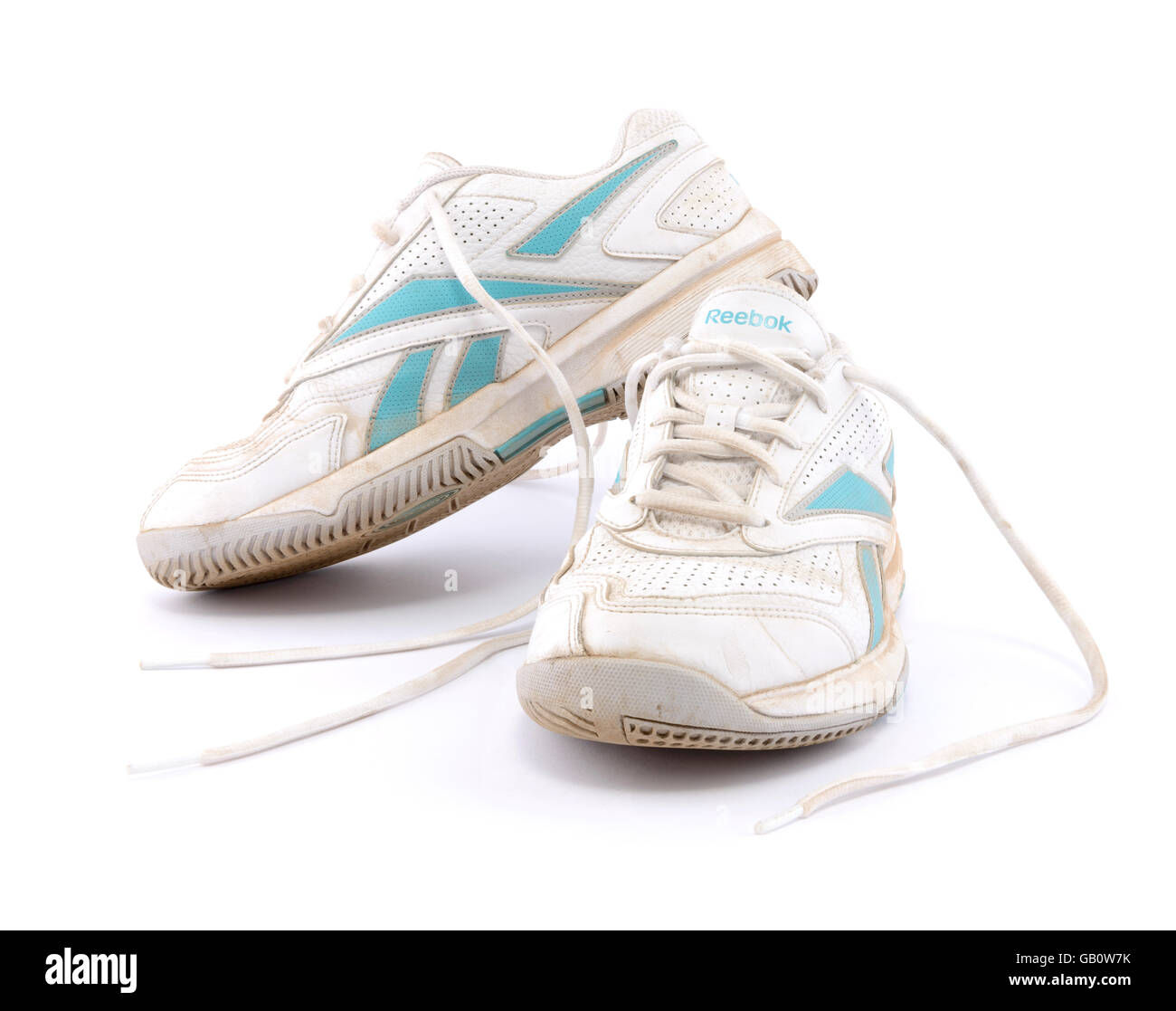 ae5d373d970 Pair of old Reebok running shoes isolated on white background - Stock Image