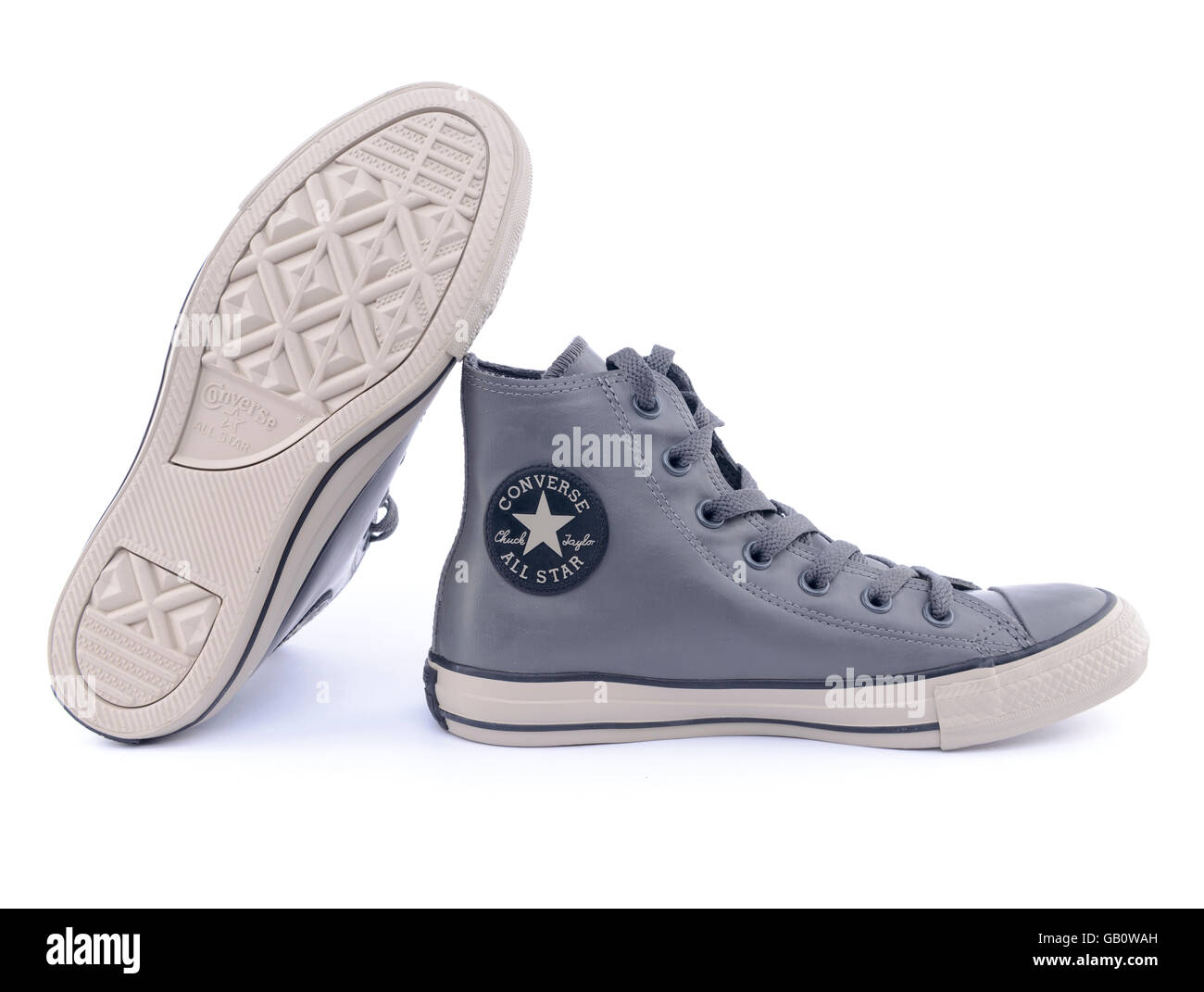 Pair of gray Converse Chuck Taylor All Star rubber sneakers - Stock Image