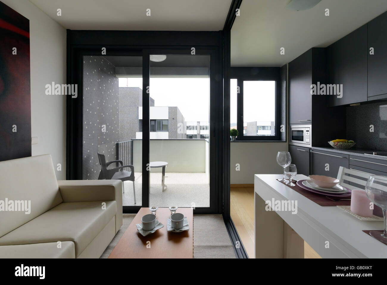 Small Studio Apartment Open Space Living Room And Kitchen Stock Photo Alamy