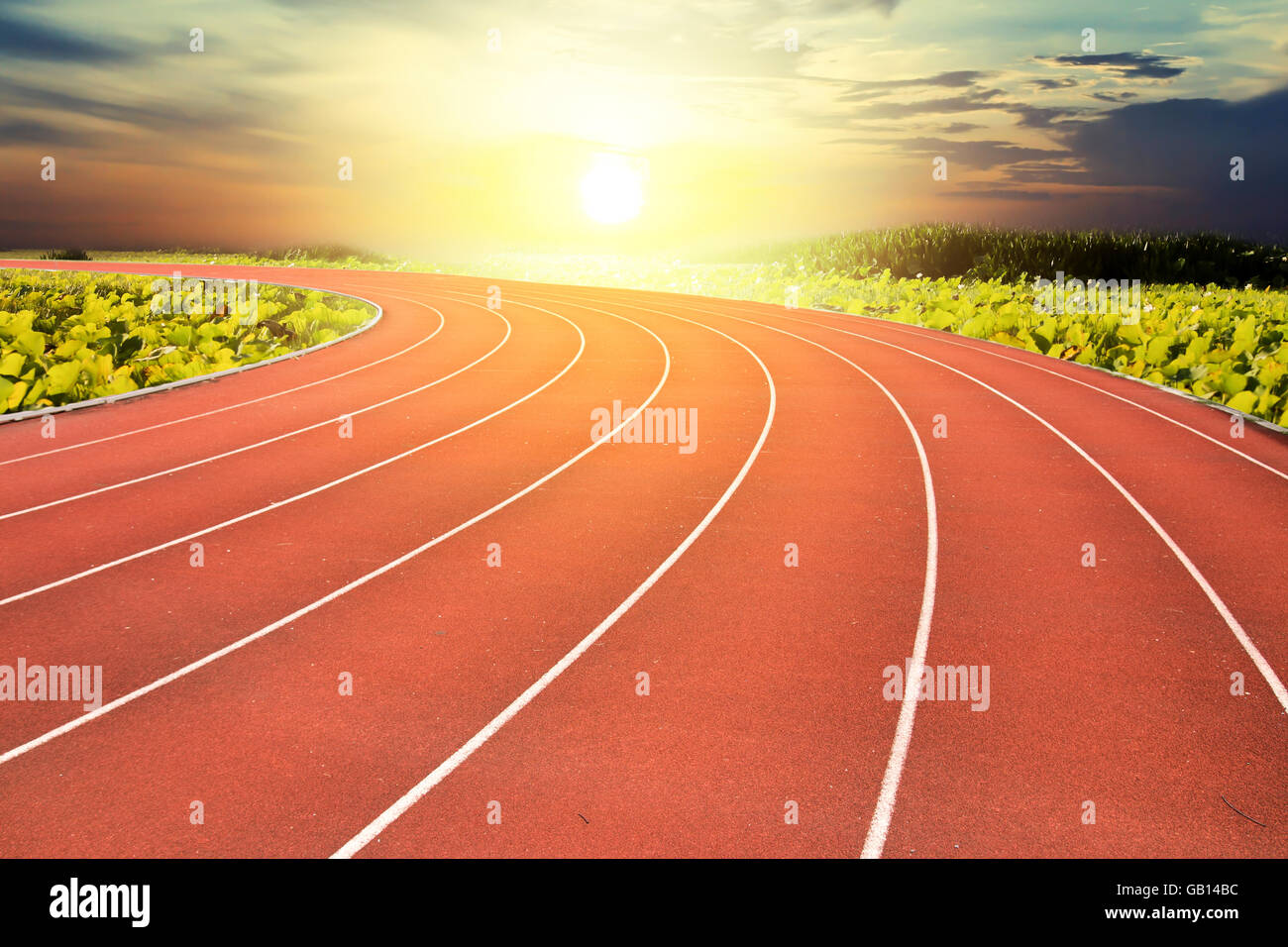 running track and sunset background concept background stock photo