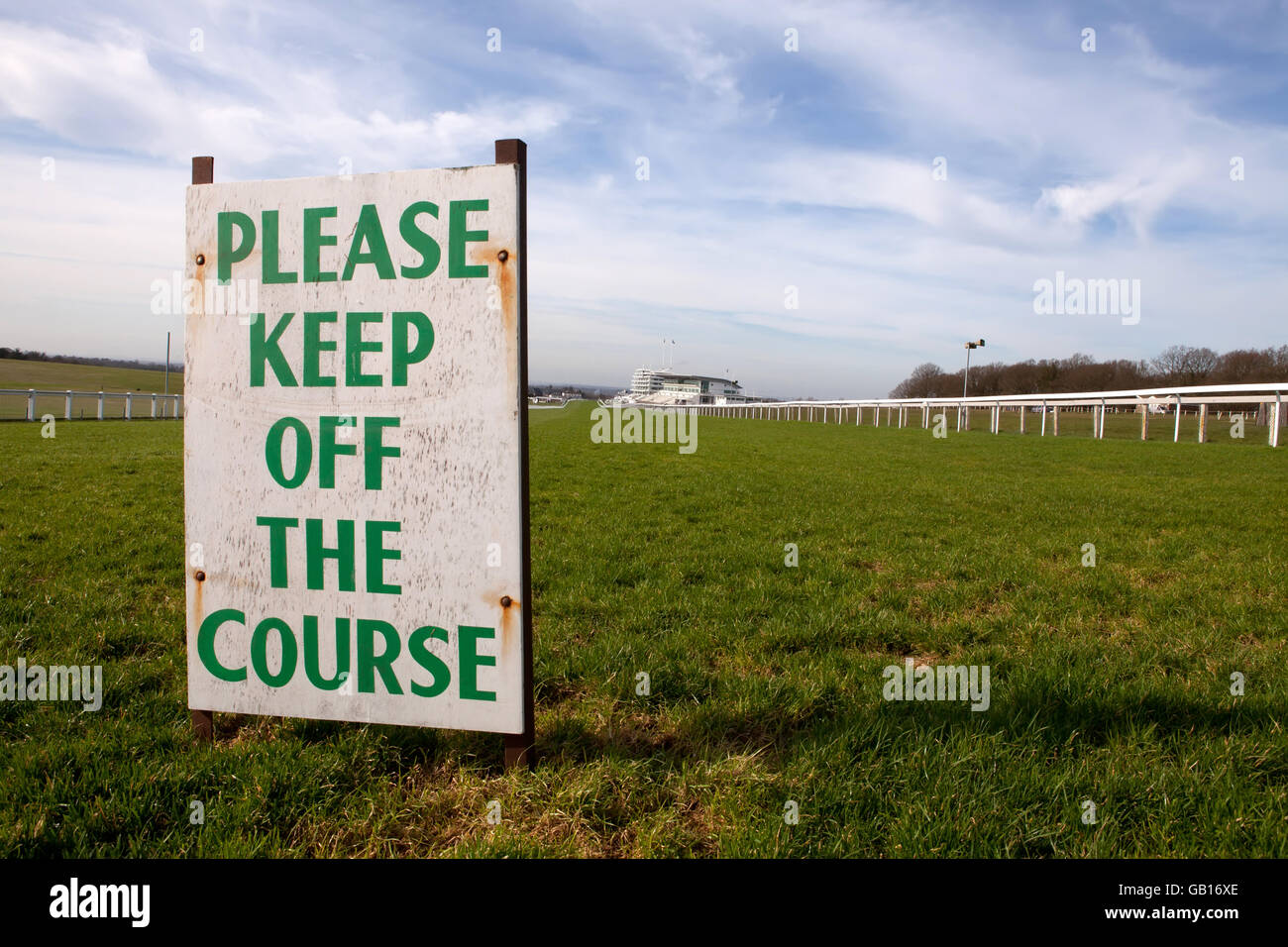 Keep off the Course Sign at Epsom Races - Stock Image