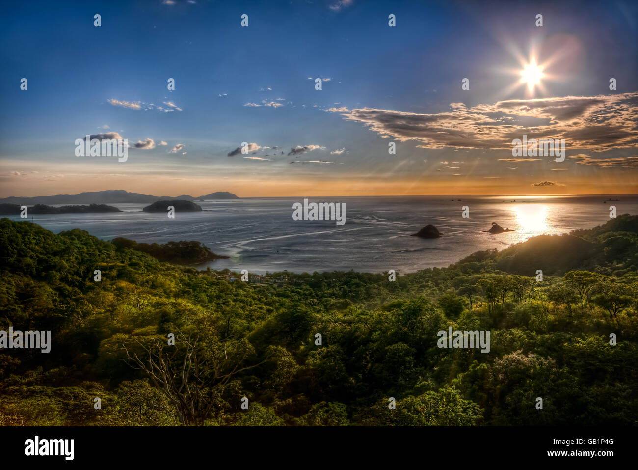 Beautiful view of sunset over the Potrero bay and Playa Azucar, Costa Rica, Guanacaste. - Stock Image