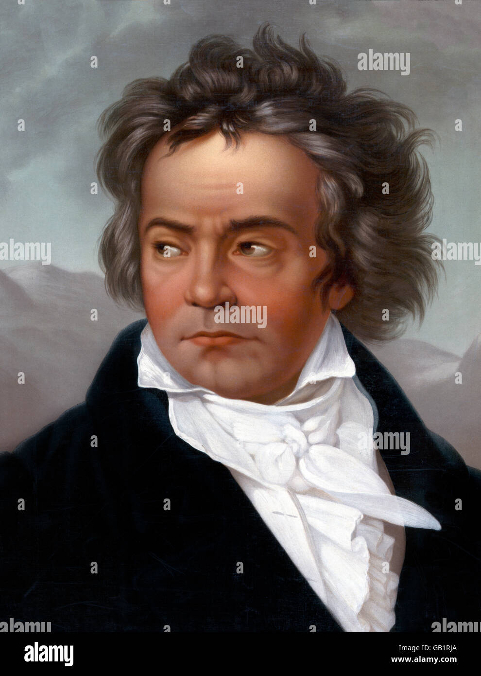 Beethoven. Portrait of the German composer, Ludwig van Beethoven (1770-1827). Published by L Prang & Co, c.1870. Stock Photo