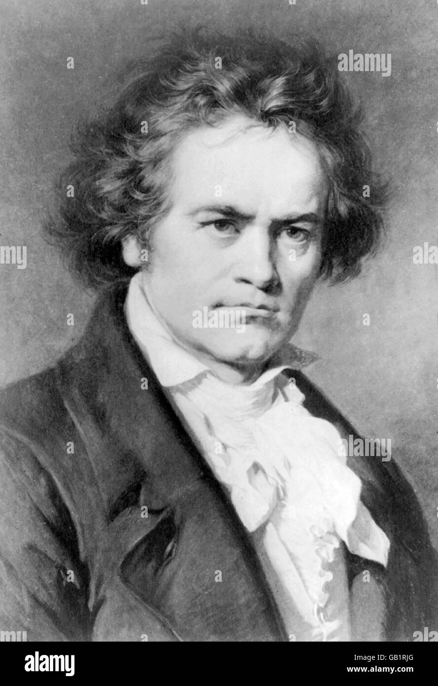 The German composer, Ludwig van Beethoven (1770-1827). From a painting by Carl Jaeger. - Stock Image