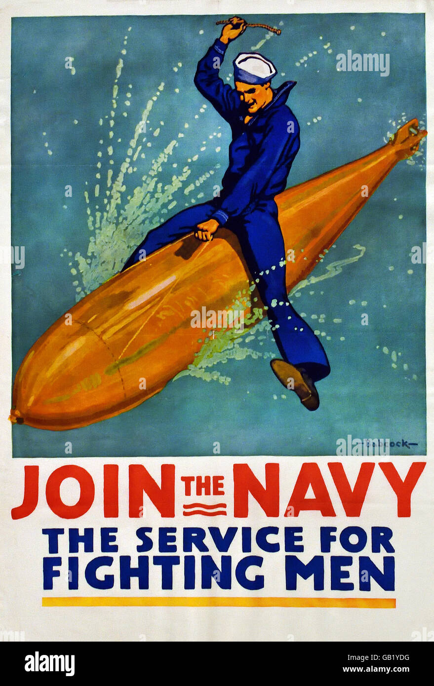 Join the Navy - The Service for Fighting - US Army World War one 1914 -1918 United states of America USA poster - Stock Image