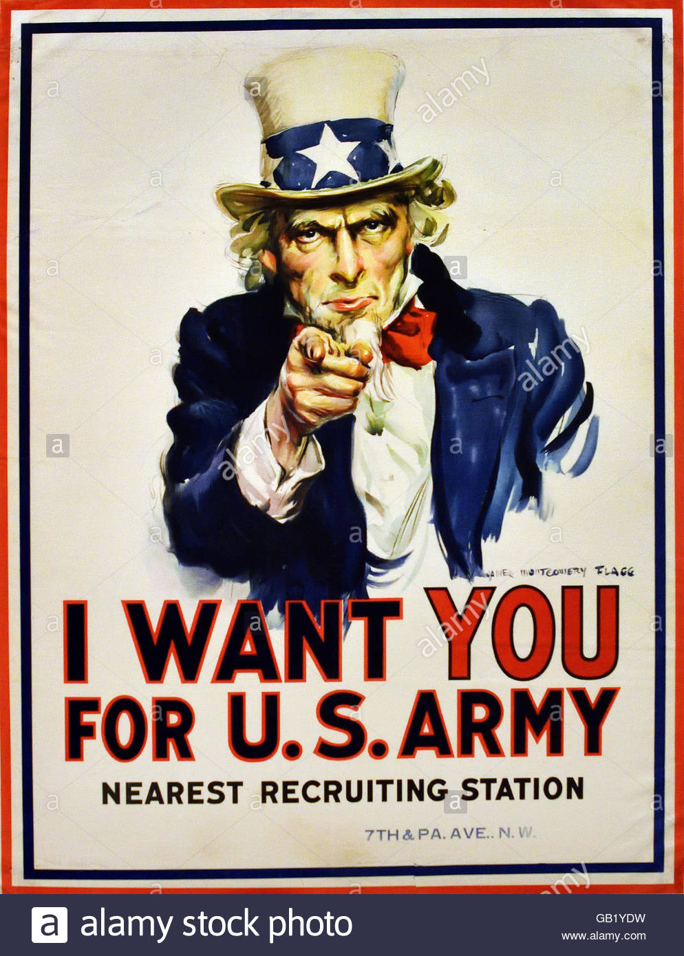 Uncle Sam -  I Want You for the U.S. Army US Army World War one 1914 -1918 United states of America USA poster billboard - Stock Image