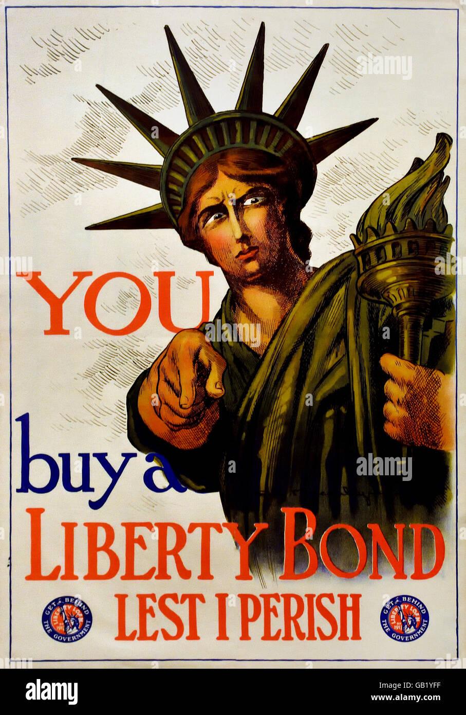 You buy a Liberty Bond Lest I Perish ( Statue of Liberty ) US Army World War one 1914 -1918 United states of America - Stock Image