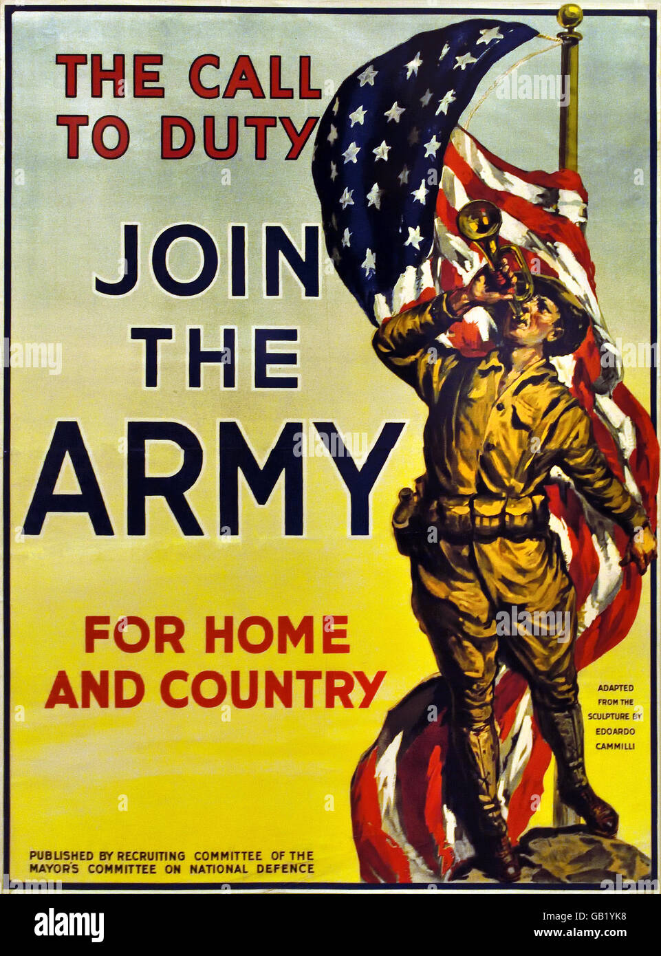 The call to Duty - Join the Army - For Home and Country US Army World War one 1914 -1918 United states of America - Stock Image