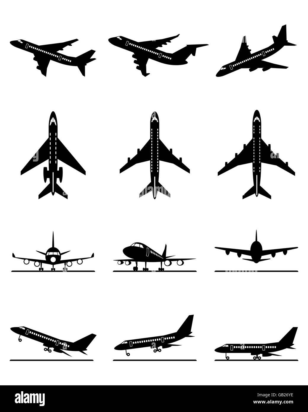 Different passenger aircrafts in flight - vector illustration - Stock Image