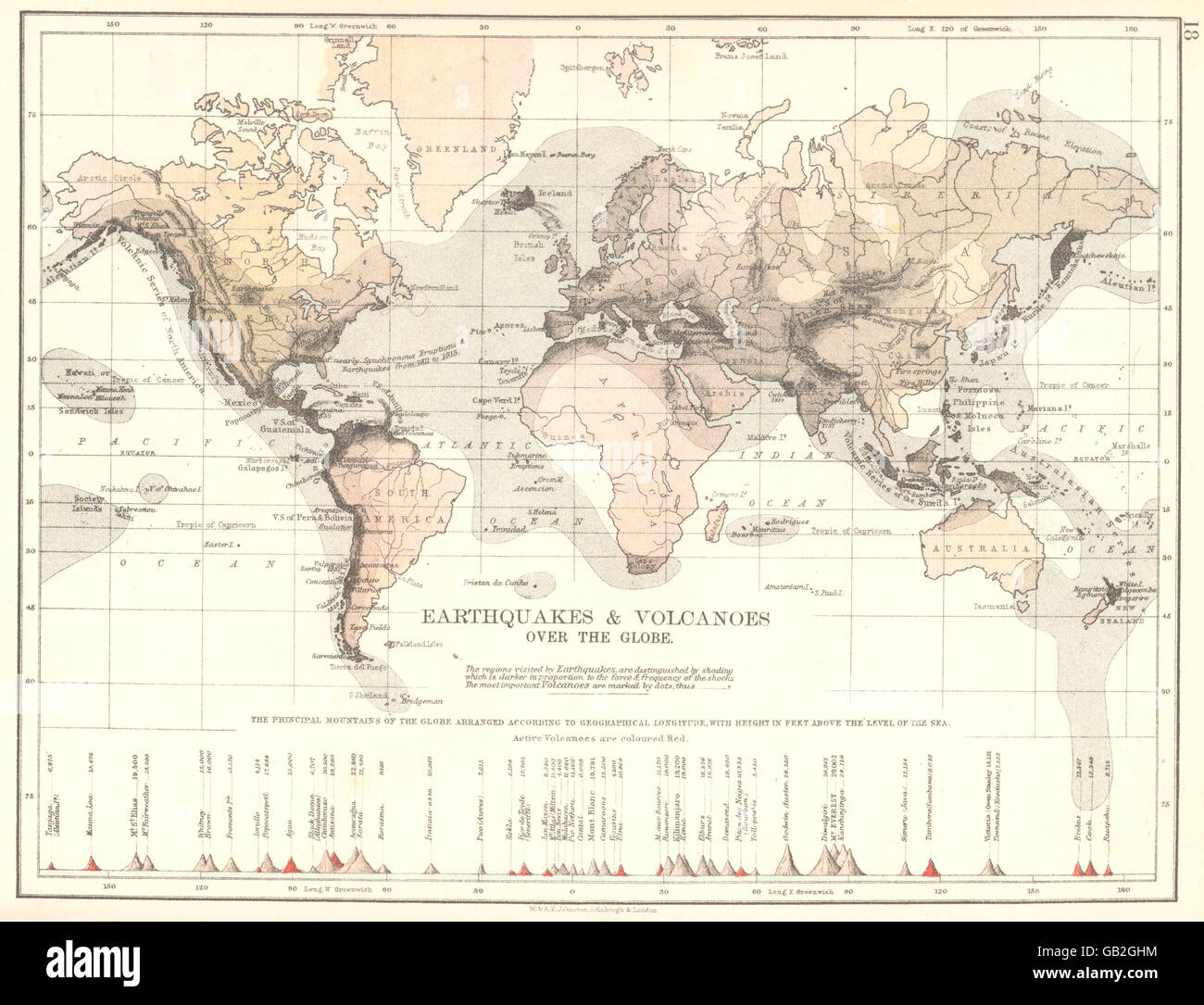 WORLD: Earthquakes & Volcanoes over the Globe, 1897 antique map - Stock Image