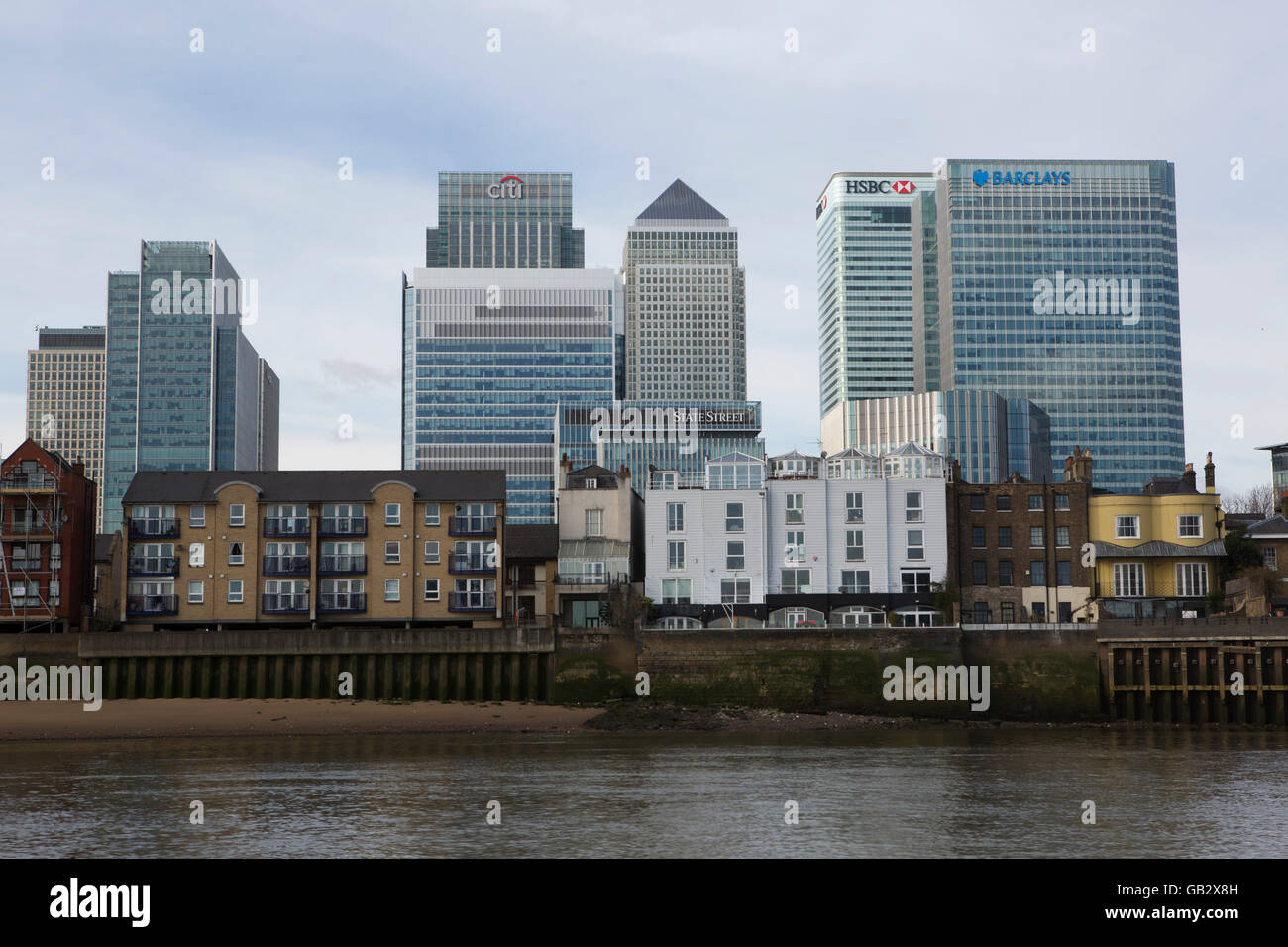 Skyscrapers at Canary Wharf in London, England. The area is the home to finance companies and investment banks. - Stock Image