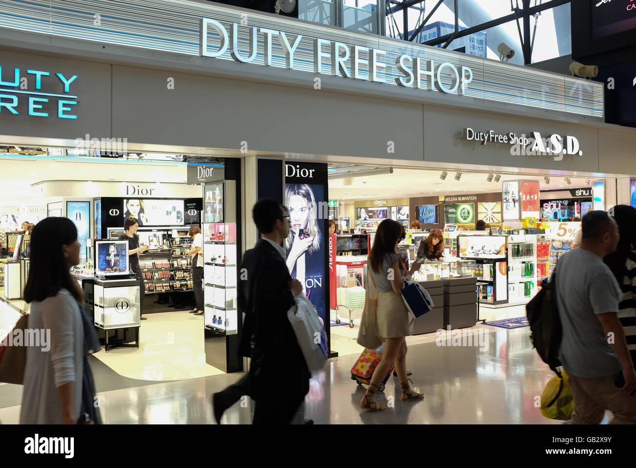 A duty free shop at Kansai airport in Osaka, Japan. - Stock Image