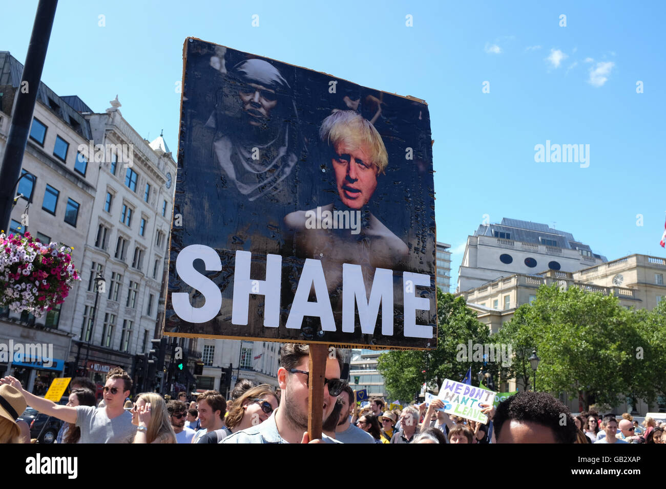A placard showing Boris Johnson at an anti-Brexit protest in London on 2nd July, 2016. - Stock Image