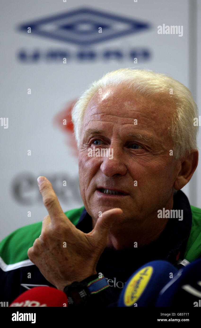 Republic of Ireland Manager Giovanni Trapattoni during a press conference at the Stadion am Bruchweg in Mainz, Germany, Stock Photo