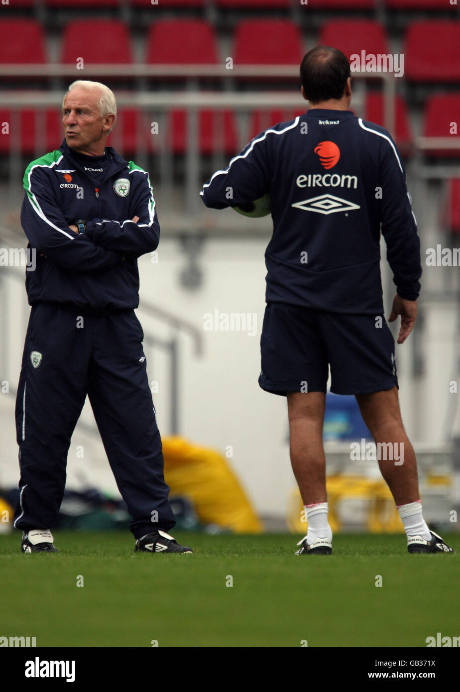 Republic of Ireland Manager Giovanni Trapattoni during a open training session at the Stadion am Bruchweg in Mainz, Stock Photo