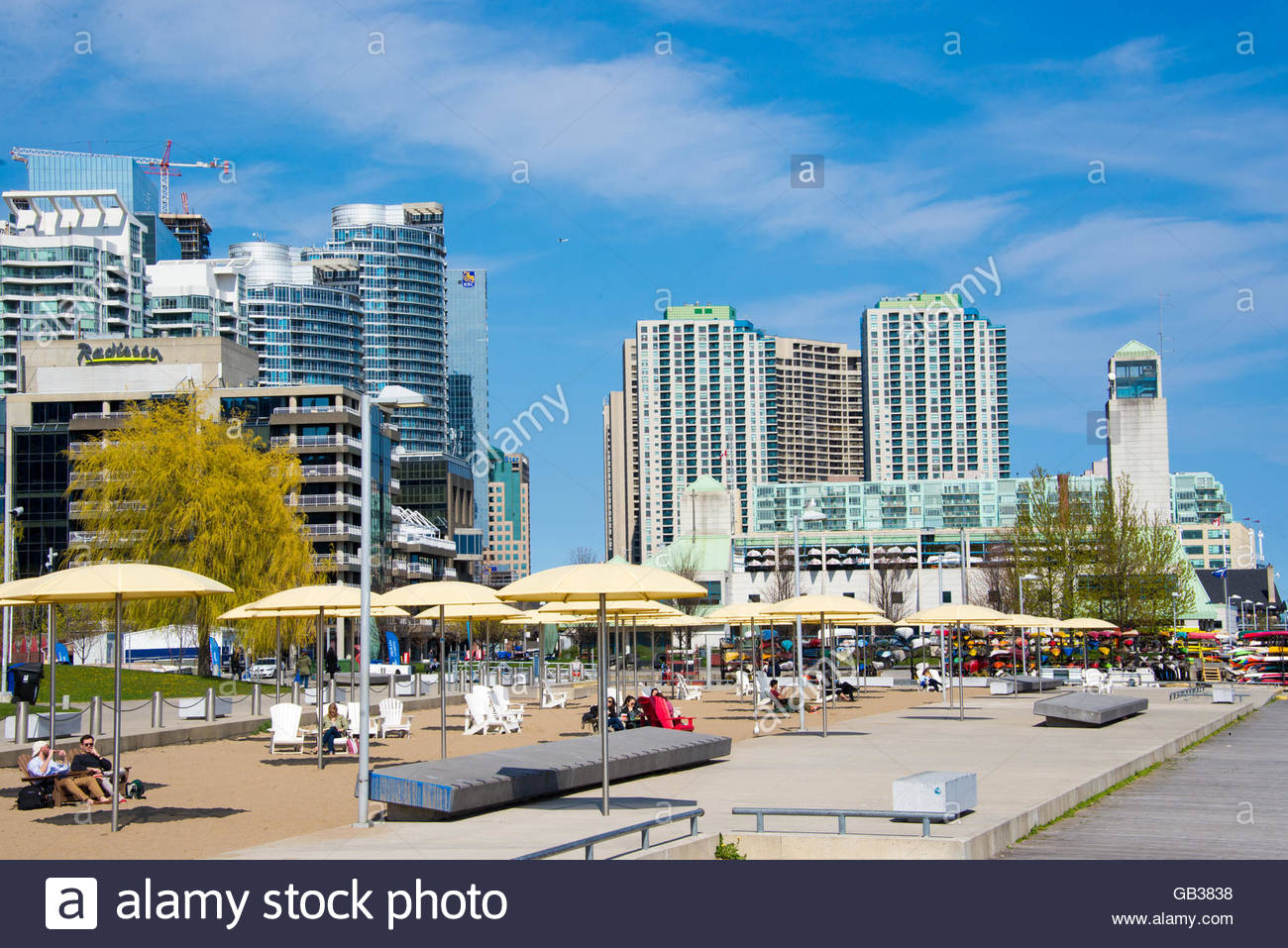 Toronto skyline: Beautiful modern architecturally designed skyscrapers seen from Toronto's harbour front. - Stock Image