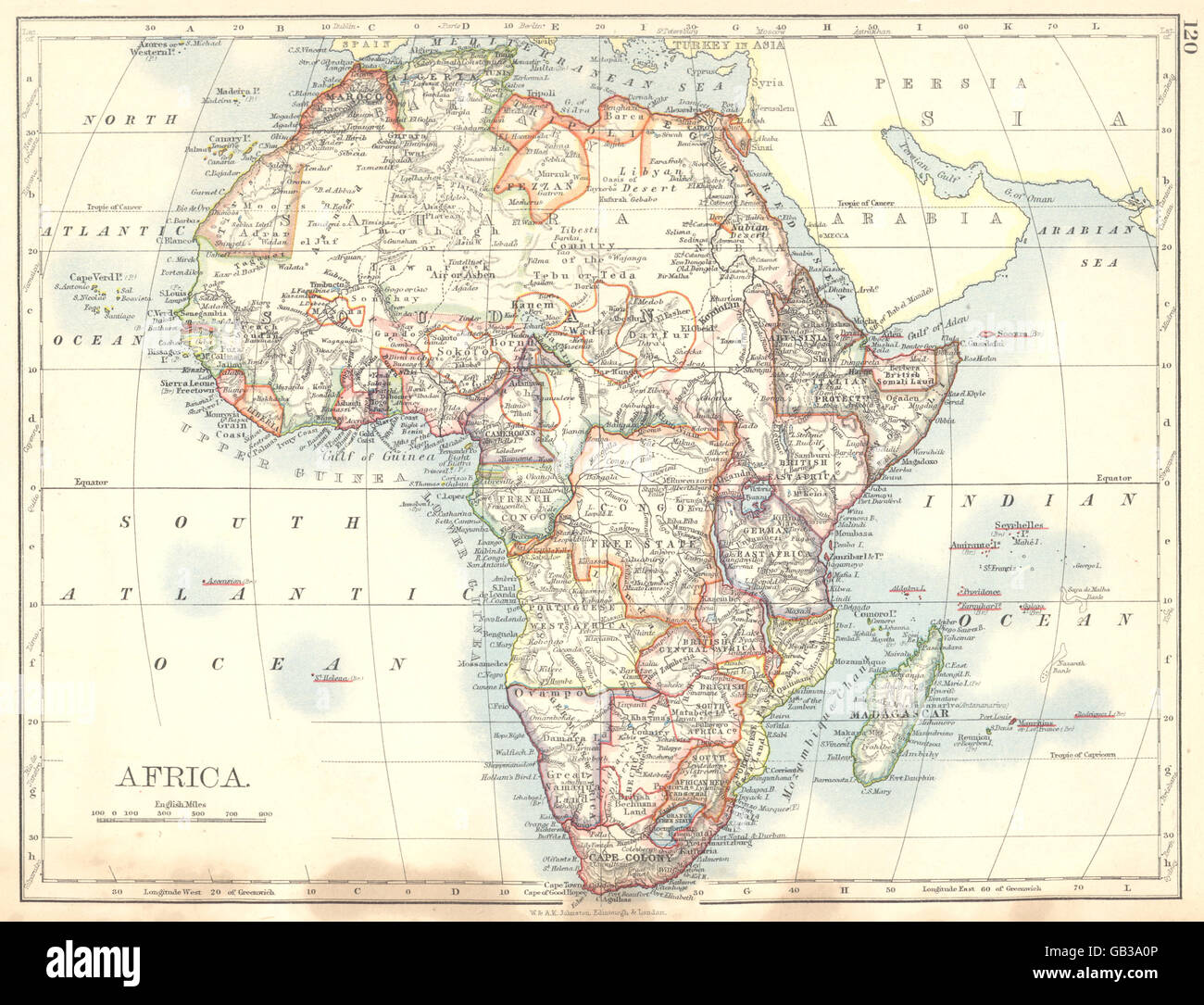 Map Of East West Germany.Africa Cape Colony German British Portuguese French East West Stock