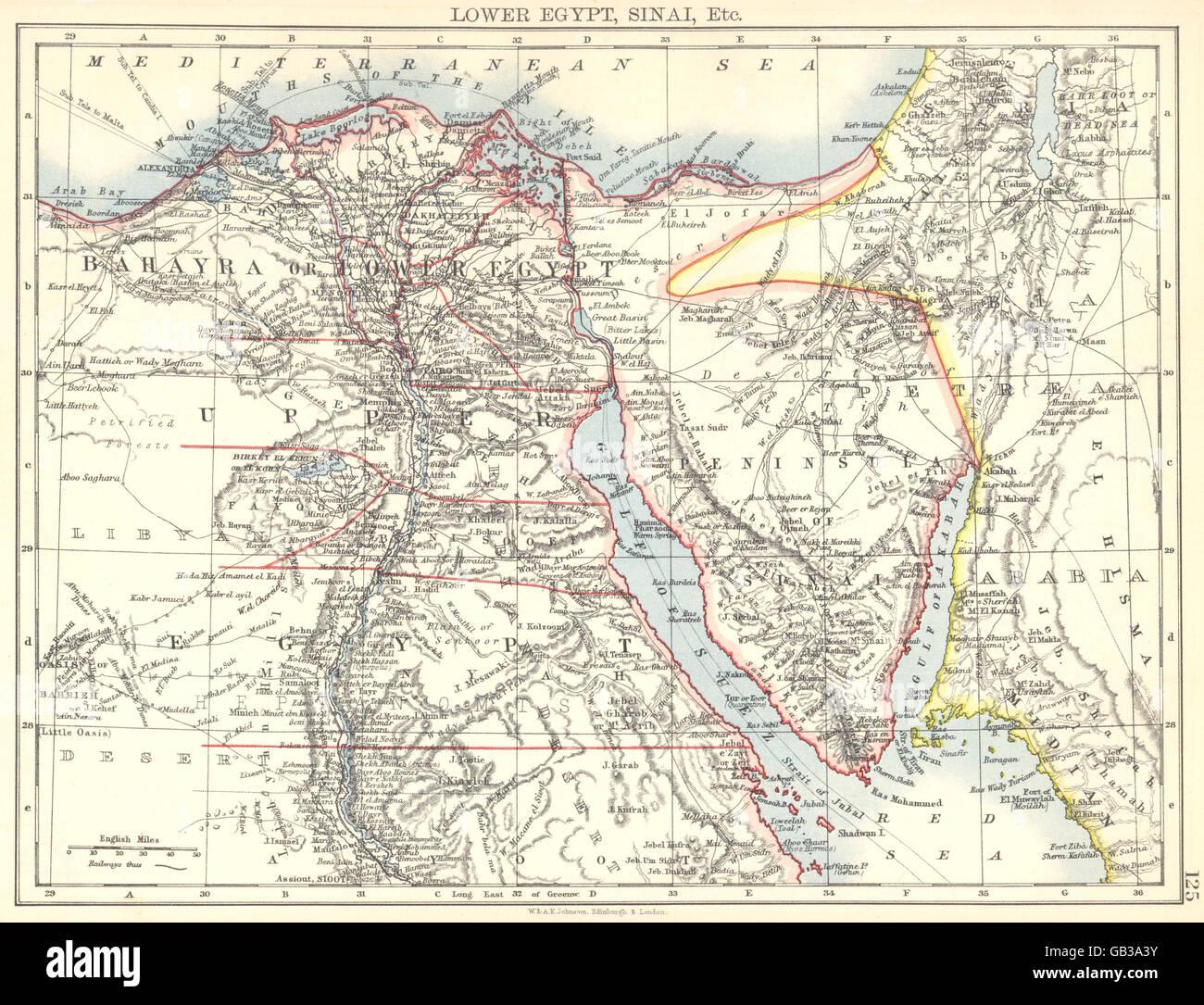 Egypt Lower Egypt Sinai Bahayra Upper Egypt 1897 Antique Map Stock