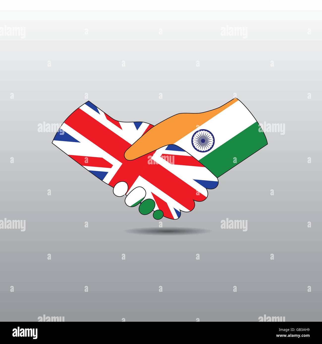 World peace icon in light gray background, India handshake with England - Stock Vector