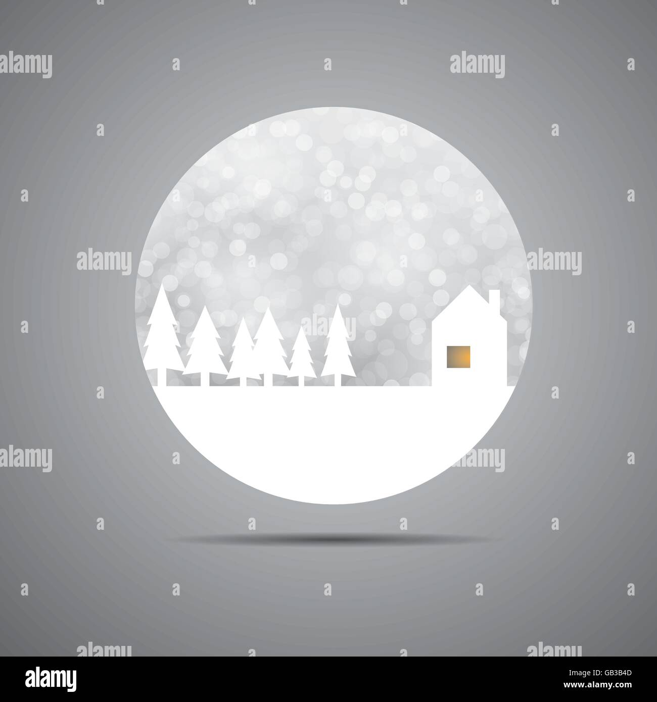 Snowing winter time logo - home sweet home - Stock Vector