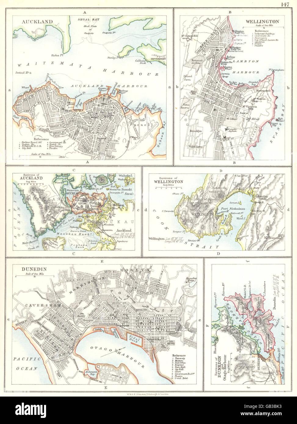New Zealand Cities Map.New Zealand Cities Auckland Wellington Dunedin Otago Harbour 1897