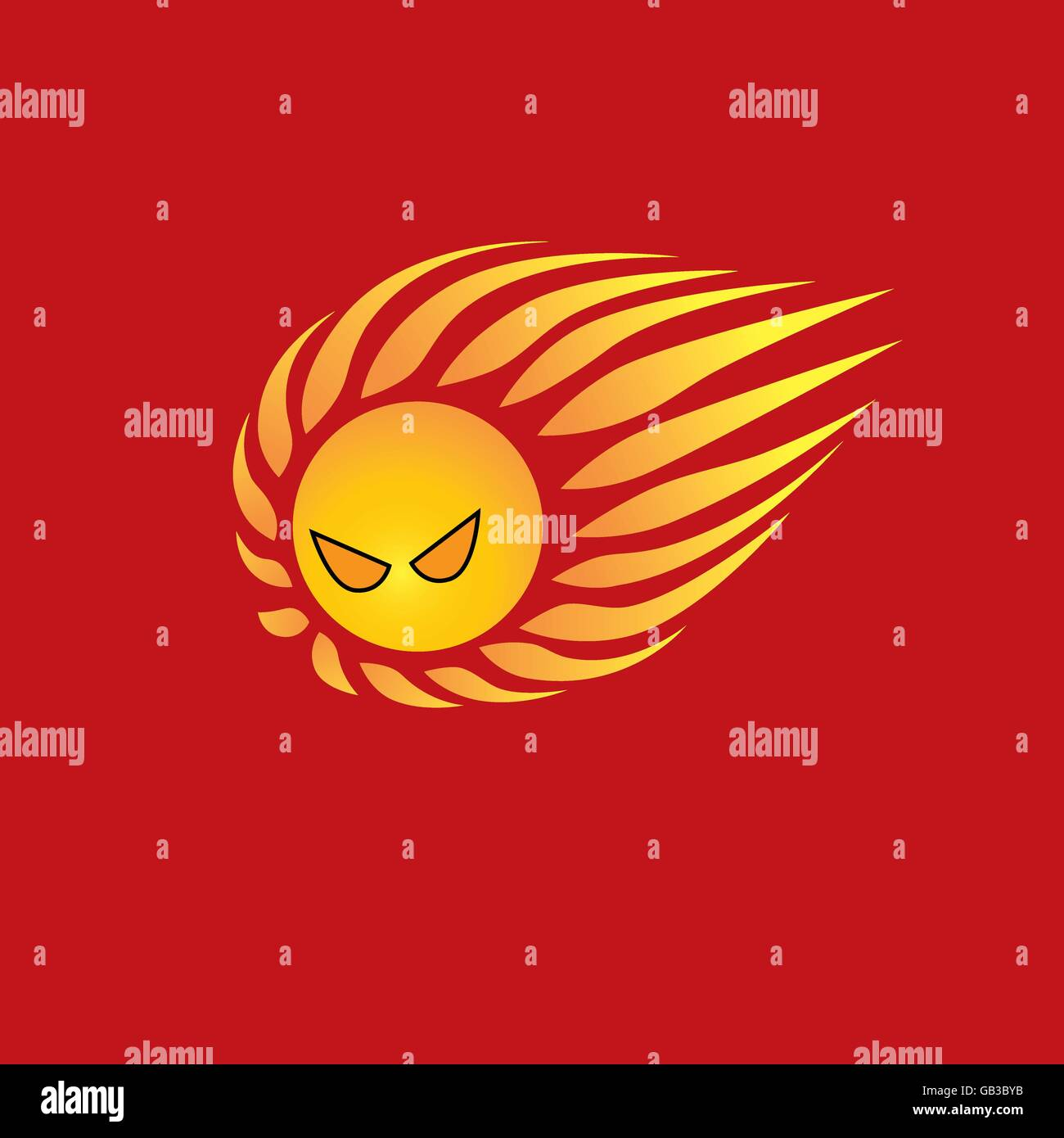 Mad sun logo on red background represent summer time, hot weather, sun burn, strong sunshine - Stock Vector