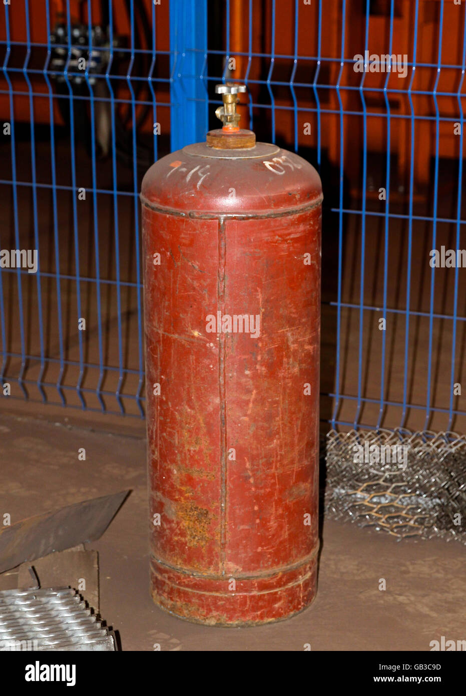high pressure cylinder for compressed industrial gases - Stock Image