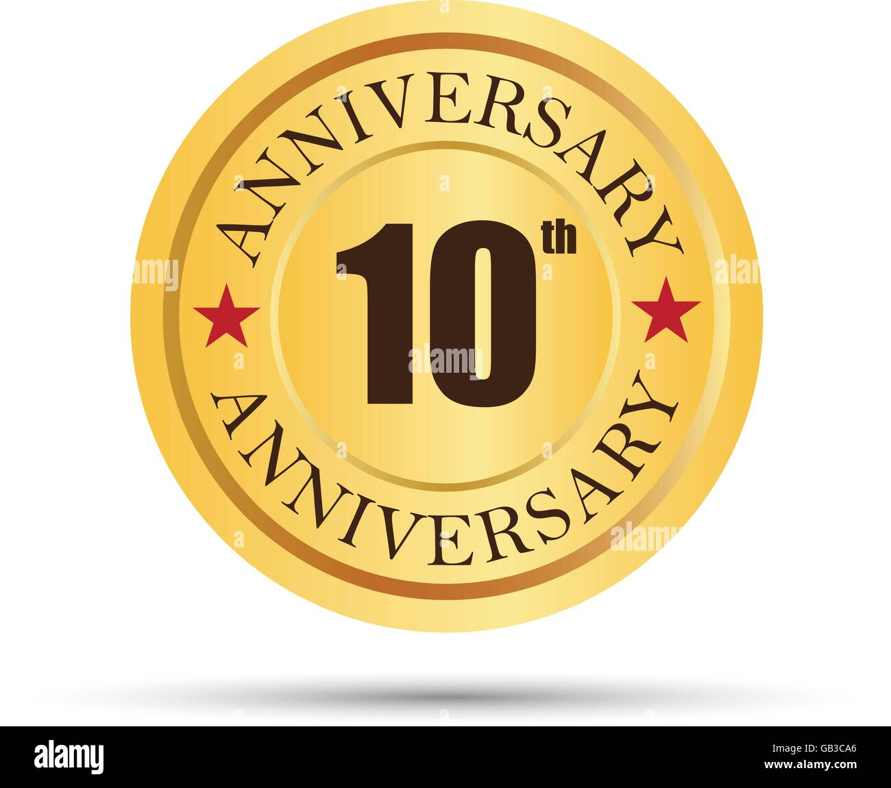 Golden badge 10 years anniversary logo - Stock Vector