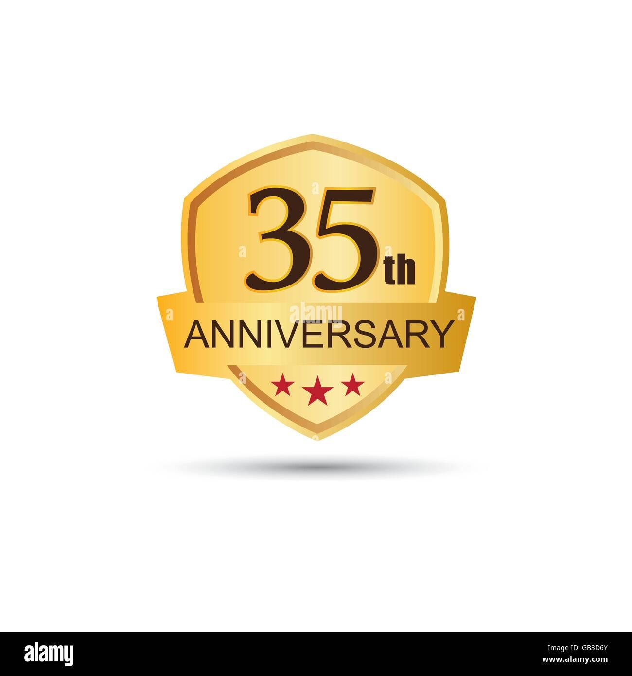 Golden badge 35 years anniversary logo - Stock Image