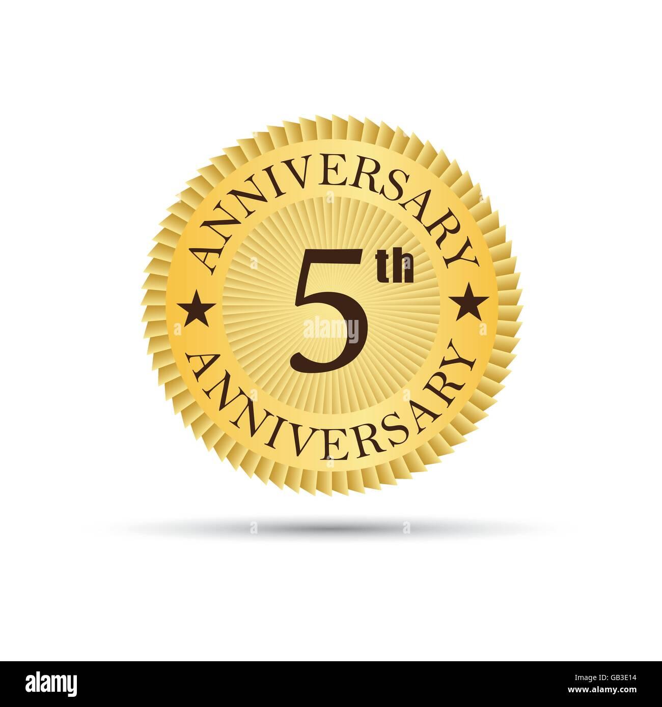 Golden label badge 5 years anniversary logo - Stock Image