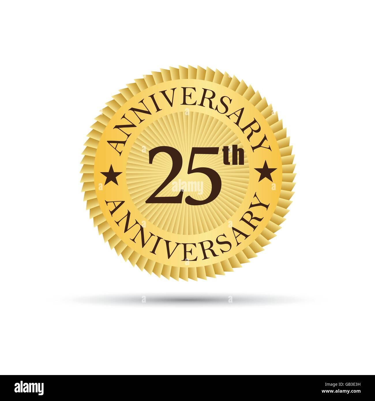 Golden label badge 25 years anniversary logo - Stock Image