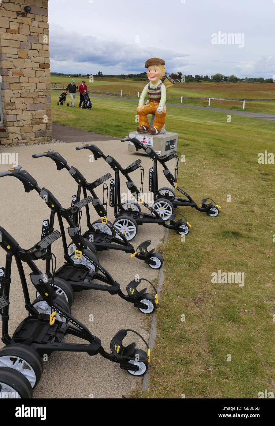 Oor Golfer on Oor Wullie Bucket Trail at Carnoustie Golf Links Angus Scotland  July 2016 - Stock Image